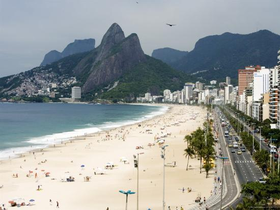 Ipanema Beach from Hotel Fasano Rooftop-Holger Leue-Photographic Print
