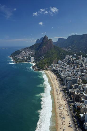Ipanema Beach, Morro Dois Irmaos, and Vidigal Favela (top), Rio de Janeiro, Brazil-David Wall-Photographic Print