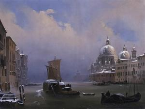 Snow and Fog in Venice (Grand Canal and Church of the Salute) by Ippolito Caffi