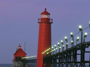A View of the Grand Haven Lighthouse at Dawn by Ira Block