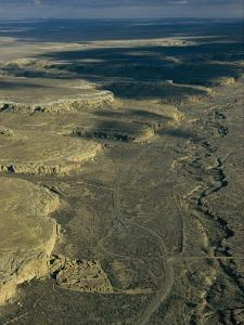 Aerial View of Chaco Canyon, Pueblo Bonito is Seen to the Left by Ira Block
