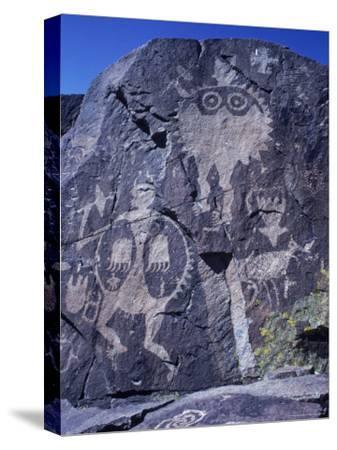 Ancient Pueblo-Anasazi Rock Art of a Warrior with a Bear Claw Shield