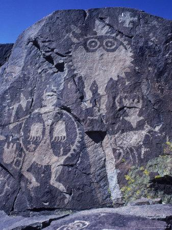 Ancient Pueblo-Anasazi Rock Art of a Warrior with a Bear Claw Shield