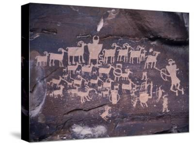 Ancient Pueblo-Anasazi Rock Art Showing a Hunt Scene