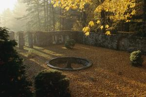 Autumn view of the garden at The Mount, Edith Wharton's home. by Ira Block