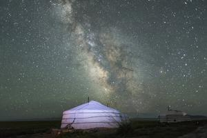 The Milky Way Rises over a Mongolian Ger in South Gobi Desert, Mongolia by Ira Block