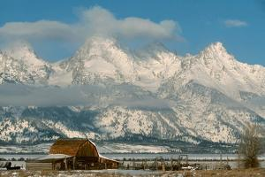 The Snow Covered Grand Tetons Rise Above the Mormon Row Barn by Ira Block
