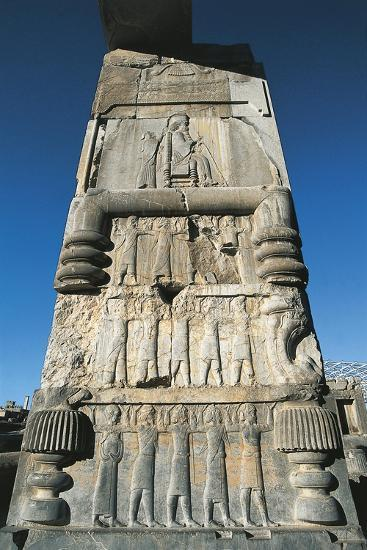 Iran, Fars Province, Persepolis, Bas Relief on Column at Throne Hall--Giclee Print