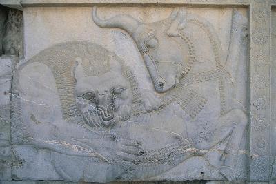 Iran, Persepolis, Apadana Palace, Bas-Relief with an Animal Fight, Close-Up--Giclee Print