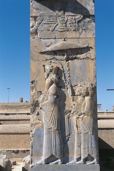 Iran, Persepolis, Council Hall 'Tripylon', Relief of King Darius--Giclee Print