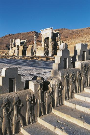 Iran, Persepolis, Council Hall 'Tripylon', Relief of Mede Dignitaries--Giclee Print