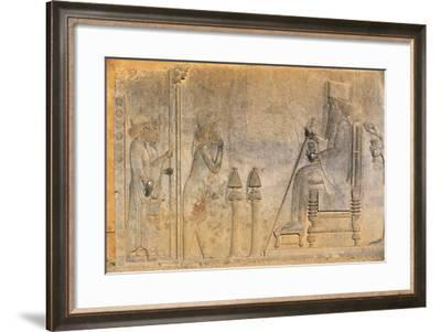 Iran, Persepolis, Imperial Treasury, Bas-Reliefs with Audience by King Darius I, Detail--Framed Giclee Print