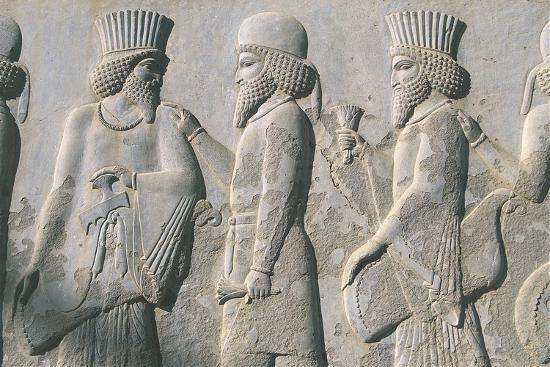 Iran, Persepolis, Reception Hall 'Apadana', Relief of Dignitaries--Giclee Print