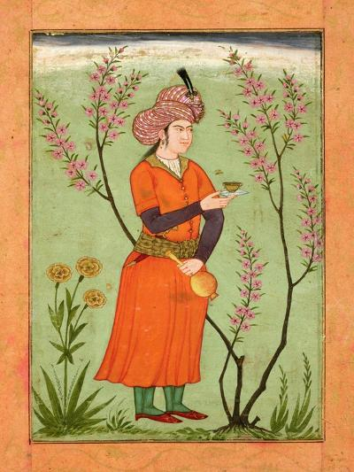 Iranian Princely Figure Holding a Cup and Flask, circa 1640, from the Large Clive Album--Giclee Print