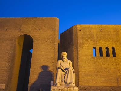 Iraq, Kurdistan, Erbil, Statue of Mubarak Ben Ahmed Sharaf-Aldin at Main Entrance To the Citadel-Jane Sweeney-Photographic Print