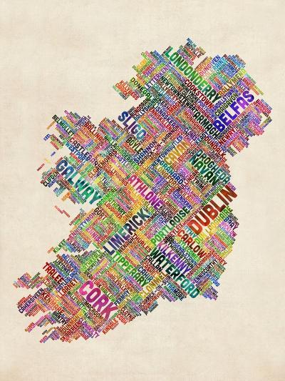Ireland Eire City Text map-Michael Tompsett-Art Print