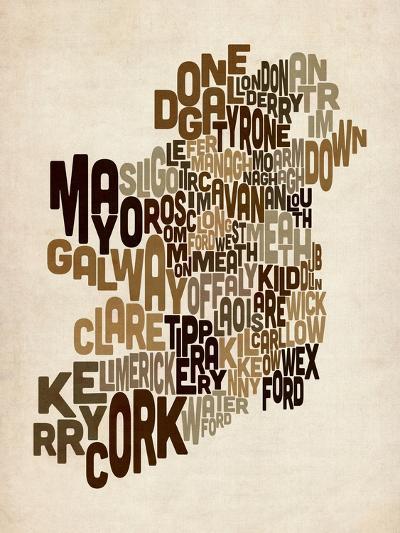 Ireland Eire County Text Map-Michael Tompsett-Art Print
