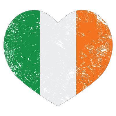 Ireland Heart Retro Flag - St Patricks Day-RedKoala-Art Print