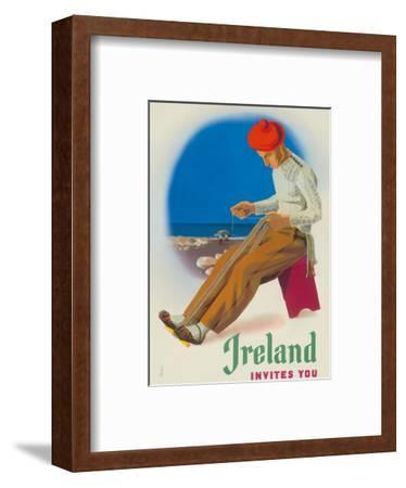 Ireland Invites You - Irishman Weaving Crios Cord Belt-Guus Melai-Framed Art Print