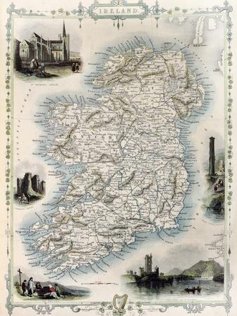 "1851-24/"" x 16/"" Photo Print Ireland John Tallis Map of Cork"