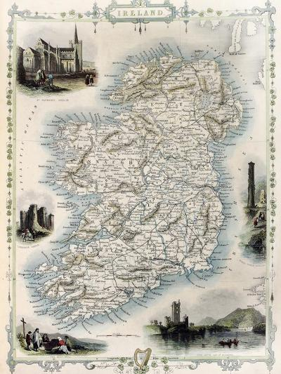 Ireland Old Map. Created By John Tallis, Published On Illustrated Atlas, London 1851-marzolino-Art Print