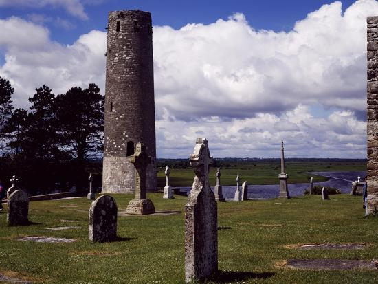 Ireland, Remains of Village Founded by St Ciaran of Clonmacnoise on Banks of Shannon River--Giclee Print