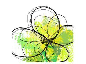 Green Abstract Brush Splash Flower by Irena Orlov