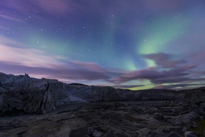 Iridescent Green Northern Lights Dance in the Sky Above Russell Glacier-Jason Edwards-Photographic Print
