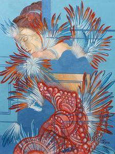Red Dress and Chickadees, 2015 by Irina Corduban