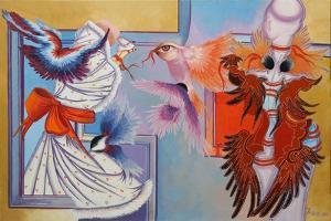 Red Ribbon and Chickadees, 2015 by Irina Corduban