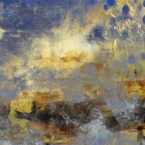 Art Abstract Acrylic Background in Blue, Yellow, Grey and Brown Colors by Irina QQQ