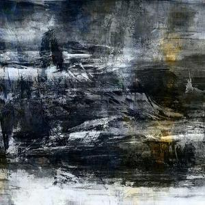 Art Abstract Acrylic Background in White, Grey, Yellow, Blue and Black Colors by Irina QQQ