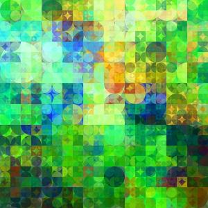 Art Abstract Vibrant Tiles Geometric Pattern For Background by Irina QQQ