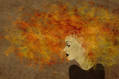 Art Colorful Painting Beautiful Girl Face With Red Curly Hair On Brown Background