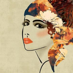Art Colorful Sketching Beautiful Girl Face On Sepia Background, In Art Deco Style by Irina QQQ