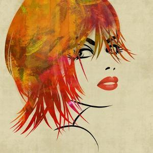 Art Colorful Sketching Beautiful Girl Face On Sepia Background by Irina QQQ