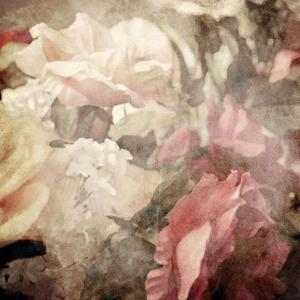 Art Floral Vintage Sepia Blurred Background with White and Pink Roses by Irina QQQ