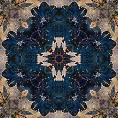Art Nouveau Geometric Ornamental Vintage Pattern in Beige and Blue Colors