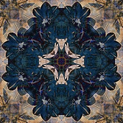 Art Nouveau Geometric Ornamental Vintage Pattern in Beige and Blue Colors