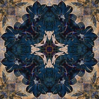 Art Nouveau Geometric Ornamental Vintage Pattern in Beige and Blue Colors by Irina QQQ