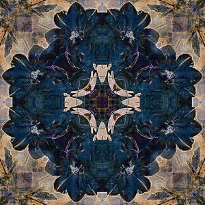 Art Nouveau Geometric Ornamental Vintage Pattern in Beige and Blue Colors by Irina QQQ