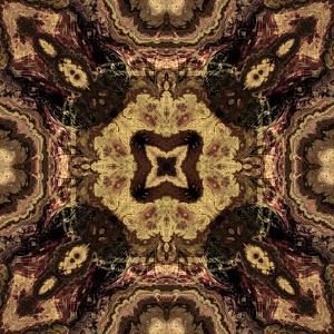 Art Nouveau Geometric Ornamental Vintage Pattern in Beige and Brown Colors by Irina QQQ