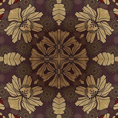 Art Nouveau Geometric Ornamental Vintage Pattern in Beige, Violet and Brown Colors