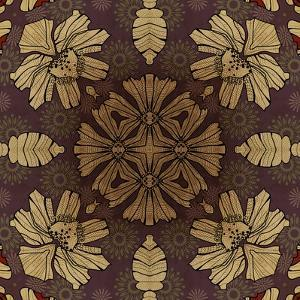 Art Nouveau Geometric Ornamental Vintage Pattern in Beige, Violet and Brown Colors by Irina QQQ