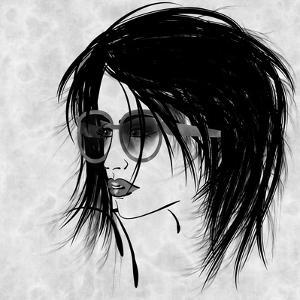 Art Sketched Beautiful Girl Face In Profile And Eyeglass In Black Graphic On White Background by Irina QQQ