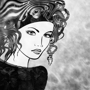 Art Sketched Beautiful Girl Face With Curly Hairs In Black Graphic On White Background by Irina QQQ