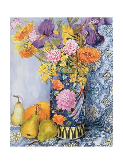 Iris and Pinks in a Japanese Vase with Pears-Joan Thewsey-Giclee Print