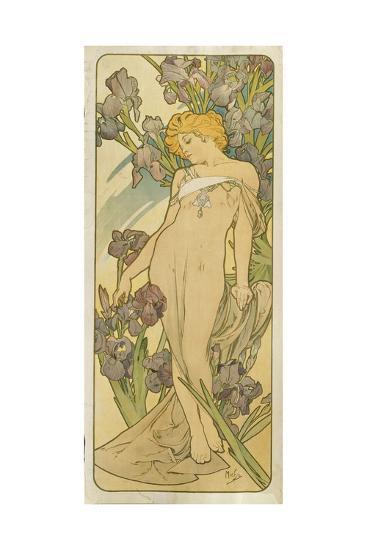 """Iris, (Aus Der Serie Von Dekorationstafeln """"Blumen), 1898-Alphonse Mucha-Giclee Print"""