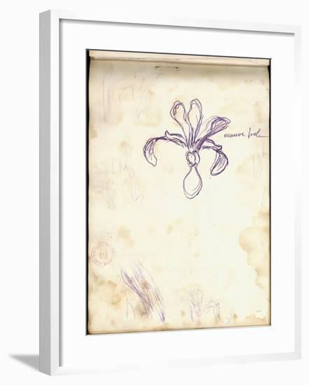 Iris (Purple Pencil on Paper)-Claude Monet-Framed Giclee Print