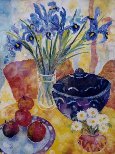 Irises and Dish of Apples-Lorraine Platt-Giclee Print